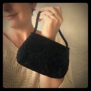 90s black lace and beaded mini purse